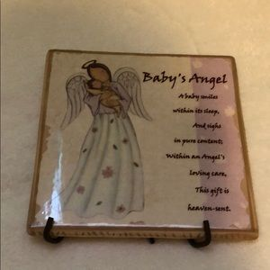 Babies angel tile with hook or stand